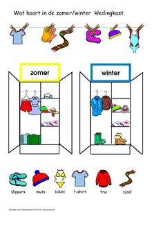 * Wat hoort erin de zomer- winterkast? Vans Top, Kindergarten Class, Class Activities, Kids Songs, Viera, Diy And Crafts, Seasons, Teaching, Logos