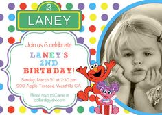 Rainbow Sesame Street Birthday Invitation by TheOlivePressPaper