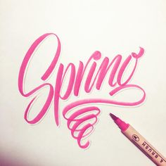 Finally! #handlettering #lettering #typematters #typography #typographyinspired #type #thedailytype #typeverything #goodtype #calligritype #typetopia #typeworship #typespot #thedesigntip #typegang #artoftype #typostrate #TY_CA #ligaturecollective #script #calligraphy #brushpen #brushscript #brushtype #spring #pink