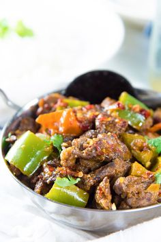 Sri Lankan Devilled Beef Curry - A delicious spicy dry beef curry that combines Sri Lankan and chinese cuisine with devilishly flavorful results! Can be made with chicken, pork, lamb or mutton as well.
