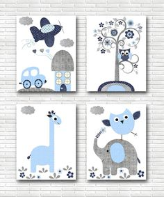 Navy Blue Gray - Car Nursery Plane Nursery Canvas Wall Decor Baby Boy Nursery Decor Children Art Print Baby Nursery Art set of 4