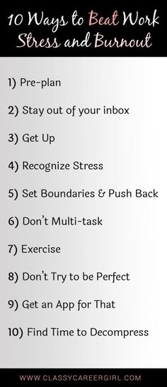 Career infographic : 10 Ways to Beat Work Stress and Burnout list