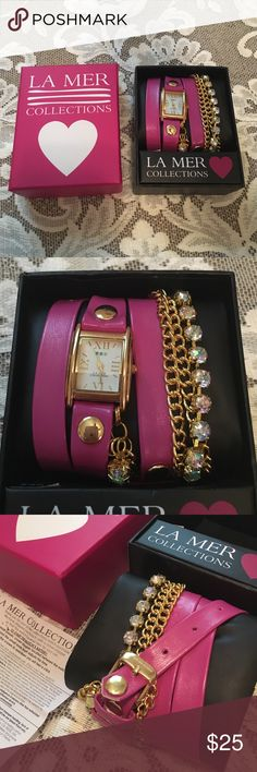 La Mer Collections Pink Rainbow Crystal Wrap Watch This is a beautiful wrap watch I got at Target a few years ago but never wore, so I'd love to see it get some use from someone else. The back says stainless steel case back, splash proof. The gold-colored circles do have some scratches on it, and it'll need a new battery, but it still has the clear sticker on the back of the watch, and comes with the original box. La Mer Accessories Watches