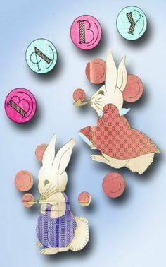 1930s Baby Bunny Quilt Pattern Uncut Betty Burton Hot Iron Embroidery Transfer | eBay