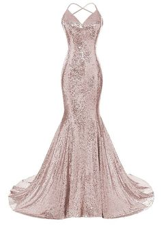 a4b7d8164e5bb Amazon.com  DYS Women s Sequins Mermaid Prom Dress Spaghetti Straps V Neck  Backless Gowns  Clothing