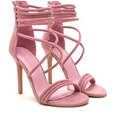 Soft To The Touch Strappy Stiletto Heels ❤ liked on Polyvore featuring shoes, pumps, strap shoes, strap pumps, stiletto high heel shoes, stiletto shoes and high heel stilettos