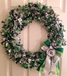 Michigan State University rag wreath by KatiesCraftingKorner, $70.00