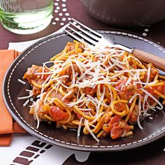 Speedy Stovetop Spaghetti Recipe -Here's a take on a favorite you'll make over and over again. This dish tastes like it's cooked all day, but it's ready to eat in 40 minutes. The pasta cooks right in the skillet, and the 20-minute simmer gives me plenty of time to fix the rest of the meal. —Kristin Nanney, High Ridge, Missouri