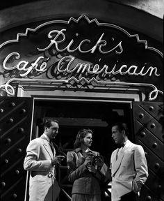 Rick's 1. Paul Henreid, Ingrid Bergman, and Humphrey Bogart.