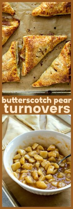 Butterscotch Pear Turnovers diced pears butterscotch sauce and a pinch of cinnamon are stuffed into puff pastry to make a delicious breakfast treat that might as well be dessert too! Fruit Recipes, Vegan Desserts, Brunch Recipes, Easy Desserts, Fall Recipes, Delicious Desserts, Cooking Recipes, Yummy Food, Pie