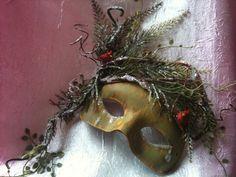 Winter Woodland and Cardinal Masquerade Mask - Wall Hanging - Wall Decor.   www.romanticdesires.etsy.com