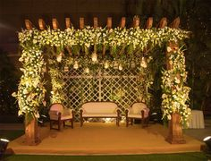 Gold and white floral decor for Madhur and Aditya's reception