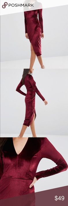 Asymmetric Wrap Over Velvet Midi Dress Club L deep v asymmetric wrap over dress in a rich velvet burgundy color. -Velvet -Plunge neckline -Asymmetric wrap skirt -Close-cut body-conscious fit -95% Polyester, 5% Elastane ASOS Dresses Midi