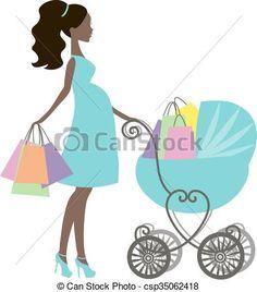 Vector Clip Art de mamá, moderno, silueta, niña, vendimia, tiendas ...