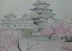 Himeji Castle, Japan. #watercolors, #nanquim, #drawing