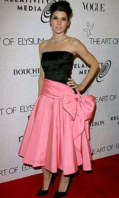 Channelling Audrey Hepburn, Marisa Tomei was an absolute vision at the The Art of Elysium's Gala 2010 in a black and pink Traina Norell vintage prom dress.