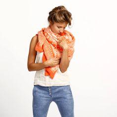 Coral printed huge woman shawl original by DiklaLevskyDesign