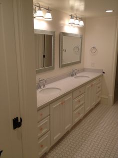 Girls bath Bath Girls, Double Vanity, Cabinets, Bathroom, Furniture, Armoires, Washroom, Wall Cupboards, Kitchen Base Cabinets