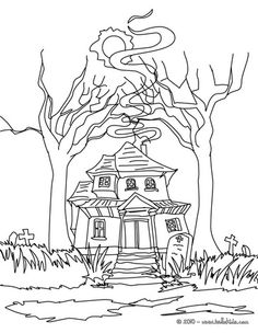 Scary Haunted Mansion Coloring Page Do You Like This There Are Many Others In HAUNTED HOUSES Pages