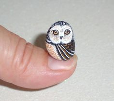Owl, miniature, saw whet, Halloween, woodland bird of prey, dorm decor, moss terrarium, hand painted rock by RockArtiste, $17.00
