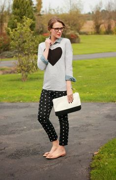 Love this fashion polka dots pant and black heart grey stylish sweater and black & white leather hand bag