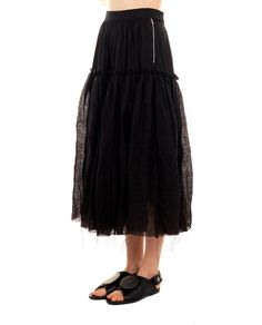 A TENTATIVE ATELIER PLEATED SKIRT S/S 2016 Skirt with pleats side fastening with zipper and buttons elastic back waistband raw cut seam double fabric  100 % Linen trimmings: 57 % Linen  39 % Viscose 1 % Polyurethane specialized wash