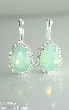 Swarovski mint teardrop earrings | mint wedding | mint bridal earrings | mint…
