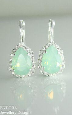 Swarovski mint teardrop earrings | mint wedding | mint bridal earrings | mint wedding jewelry | www.endorajewellery.etsy.com