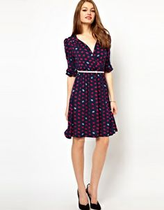 Enlarge A Wear Lip Print Wrap Dress