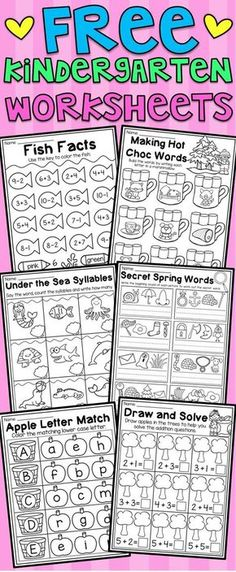 Free kindergarten math and language arts worksheets. This free pack includes six math and literacy worksheets for kindergarten. The worksheets relate to CVC words, addition, subtraction, uppercase letters, syllables and spelling. I hope you enjoy! Language Arts Worksheets, Free Kindergarten Worksheets, Kindergarten Language Arts, Kindergarten Readiness, Kindergarten Centers, Homeschool Kindergarten, Syllables Kindergarten, Homeschooling, Addition Worksheets For Kindergarten