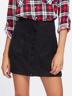Shop Patch Pocket Front Button Up Skirt online. SHEIN offers Patch Pocket Front Button Up Skirt & more to fit your fashionable needs. Romwe, Short Skirts, Mini Skirts, Suede Shorts, Button Up Skirts, A Line Shorts, Fashion News, Fashion Edgy, Ootd Fashion