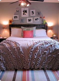 DIY Tutorial - Drop Cloth Ruffle Duvet Cover - by Rachael of Lovely Crafty Home -- love it ~~Love the comforter Dream Bedroom, Home Bedroom, Bedroom Decor, Bedroom Ideas, Master Bedroom, Wall Decor, My New Room, My Room, Ruffle Duvet