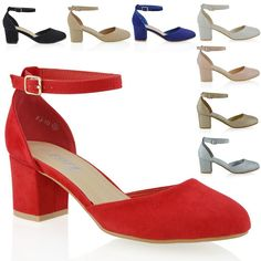 12ea978ab241 Details about Womens Closed Toe Ankle Strap Sandals Ladies Low Mid Block  Heel Mary Shoes Size