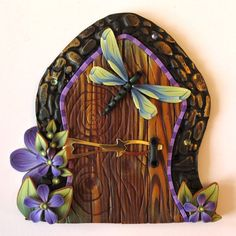 Fairy Door Pixie Portal Kids Room Decor with a Dragonfly