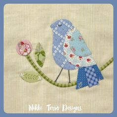 """I've finally gotten a second to post my gorgeous little bird block, designed by Irene Blanck for The Splendid Sampler sew a long. I loved this little bird and tried to make mine look like an Australian Superb Blue Wren... such a cutie to add to the pile of 6 1/2"""" blocks... #thesplendidsampler2 #thesplendidsampler #nikkitervodesigns #prettybirds #stitchingwithfriends #sewalong Bird Applique, Applique Quilts, Wool Applique, Bird Quilt Blocks, Block Quilt, Scrappy Quilt Patterns, Farmers Wife Quilt, Cute Sewing Projects, Japanese Quilts"""