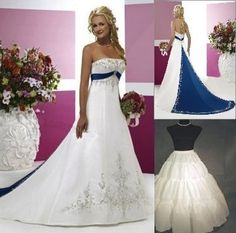 Store White/Blue Satin Wedding Dress Size*6 8 10 12 14 16 18---winter wedding