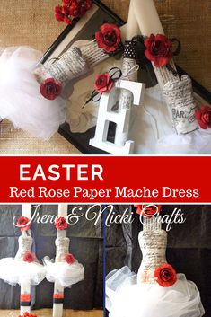 Red Rose Paper Mache Dress was made for our Easter Candles. - Irene and Nicki Crafts Christmas Stockings, Christmas Wreaths, My Favorite Color, My Favorite Things, Palm Sunday, Handmade Design, Paper Mache, Easter Crafts, Irene