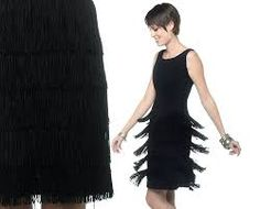 Image result for fringed little black dress