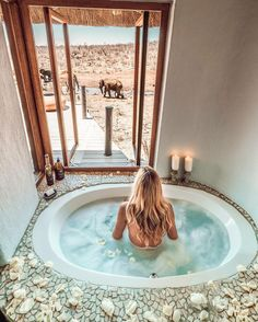 "@campsbaygirl shared a photo on Instagram: ""We are all just here having a bath 🐘 The honeymoon suite at @royalmadikwe has got it going on 🥰 #southafrica #meetsouthafrica…"" • Jan 25, 2021 at 4:53pm UTC"