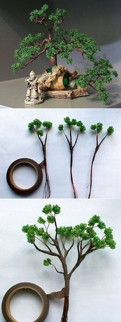 Bonsai from beads Beaded Crafts, Wire Crafts, Diy And Crafts, Wire Tree Sculpture, Wire Trees, Miniature Plants, Wire Art, Beads And Wire, Flower Tutorial