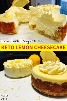 Keto Lemon Cheesecakes With and Without Almond Crust - Low Carb, Healthy and Sug.Keto Lemon Cheesecakes With and Without Almond Crust - Low Carb, Healthy and Sugar Free Recipe Keto Desserts, Dessert Recipes, Keto Snacks, Dessert Bread, Protein Snacks, Recipes Dinner, Holiday Recipes, Lemon Cheesecake Recipes, Keto Cheesecake