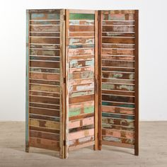 Recycled Wood decorative shelves | Reclaimed Wood 3 Panel Screen - Reclaimed Wood Furniture - Material