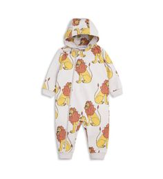 Mini Rodini Lion Onesie: Unisex hooded onesie with all over lion print. The onesie has soft rib cuffs at sleeve and leg endings and a colour-matching and smartly placed nylon zip from neck to leg ending for easy dressing. The folded up cuffs at sleeve and leg endings are made extra long to be folded down as the child grows.