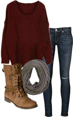 I love the maroon sweater, it looks super comfy. The dark skinny jeans are 100% my style, as is the knit scarf. I think boots should go with this outfit, but i don't really like this style. I like boots without laces for the most part.