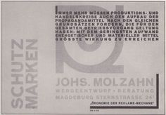 Johannes Molzahn: Ökonomie der Reklame-Mechane, 1926 (via: Linotype Font Feature - Constructivists Fonts)