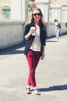 blazer, white top, red pants, sandals