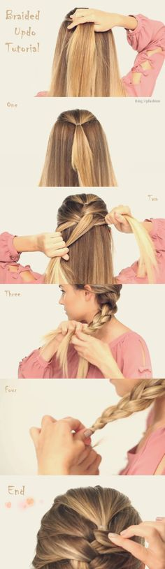 braided updo tutorial with straight and cheap human hair extensions clip on