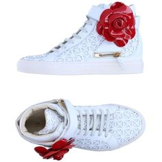 D-s!de High-tops & Sneakers (725 BRL) ❤ liked on Polyvore featuring shoes, sneakers, white, white high tops, white wedge sneakers, hi tops, wedge sneakers and flower sneakers