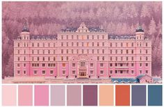 The Grand Budapest Hotel, director Wes Anderson Grand Hotel Budapest, Hotel Budapest Movie, Wes Anderson Style, Wes Anderson Movies, Movie Color Palette, Colour Pallete, Color Palettes, Colour Colour, Colour Schemes