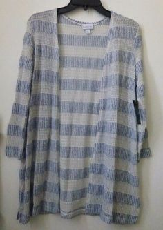 NWT KIM ROGERS Size S Open Front Cardigan Blue Long Sleeve Side Slits Striped #KimRogers #Cardigan #Casual  #ebay #womensclothing #clothing #fashion #style #tops #party #casualstyle